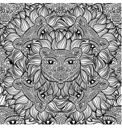 Seamless pattern with a lion heads on a white vector