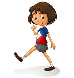 Singapore girl walking alone vector
