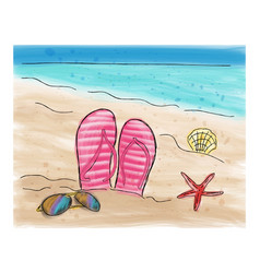 Summer flip flops in the sand on the beach vector