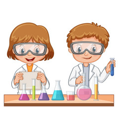 two students do science experiment vector image