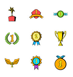 Victory icons set cartoon style vector
