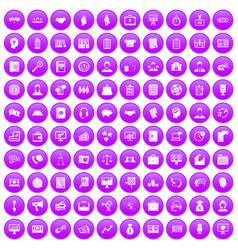 100 business people icons set purple vector