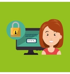 Woman pc password app vector