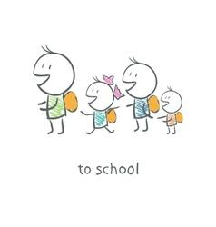 Children go to school vector