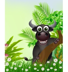 cute buffalo cartoon smiling with tropical forest vector image