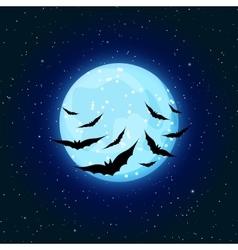 Blue moon and bats vector