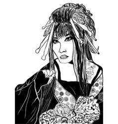 stylized cartoon geisha woman japanese dancing vector image