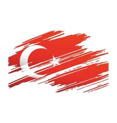 Flag Turkey in the form traces brush vector image