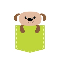 Dog in the pocket cute cartoon character dash line vector