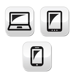 Laptop tablet smarthone vecor buttons set vector image