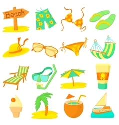 Sea rest icons set cartoon style vector