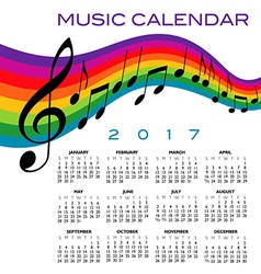 A 2017 calendar with a musical score vector