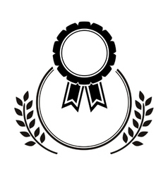Medal award in monochrome with olive branch vector