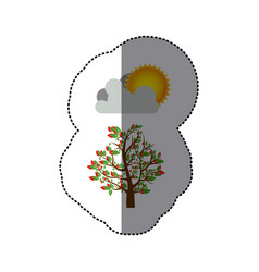 Sticker colorful spring picture with leafy tree vector