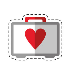 Cartoon first aid kit emergency heart care vector