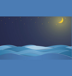 Ocean at night with blank space paper art style vector