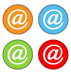 Email sign button set vector