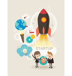 Start up business concept idea rocket launch vector