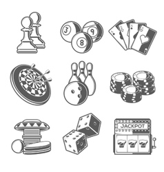 Casino sport and leisure games icons chess vector