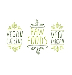 Healthy food product labels vector