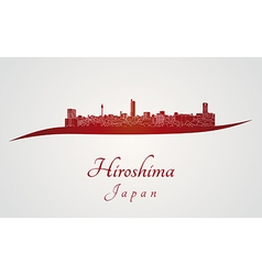 Hiroshima skyline in red vector