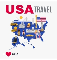 World travel agency usa culture flat poster vector