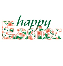 Happy easter greetings card calligraphic vector
