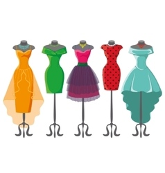 Colored summer dresses on mannequin vector