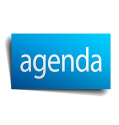 Agenda blue square isolated paper sign on white vector