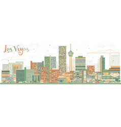 Abstract las vegas skyline with color buildings vector