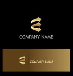 arrow shape gold logo vector image