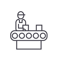 assembly conveyor concept thin line ico vector image