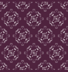 Aubergine and white ornamental swirl background vector