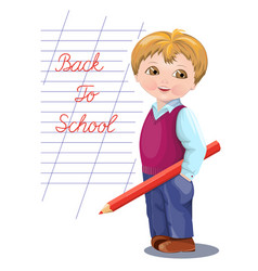 Back to school banner card flyer with schoolboy vector