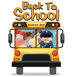 Back to school theme with kids on school bus vector