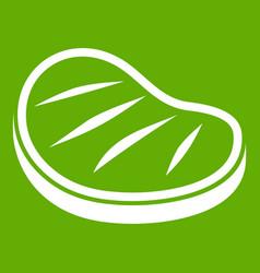 beef steak icon green vector image