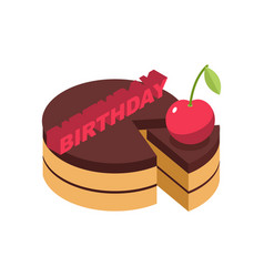 Birthday cake cherry isolated cherries pie on vector