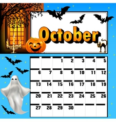 Calendar for october bats and pumpkin vector