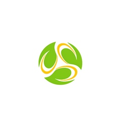 circle leaf bio organic technology logo vector image