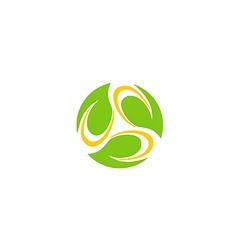 circle leaf bio organic technology logo vector image vector image