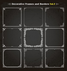 Decorative square frames and borders set 5 vector