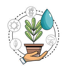 Ecology plant with water drop and icons to vector