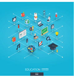 education integrated 3d web icons digital network vector image vector image