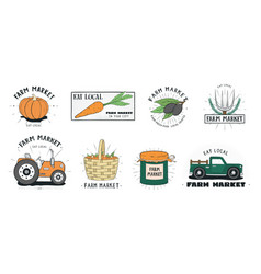 fresh food labels set farm market various logo vector image vector image