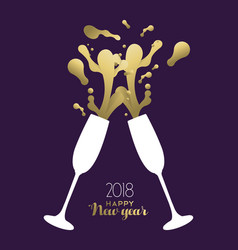 happy new year 2018 gold party drink toast splash vector image vector image