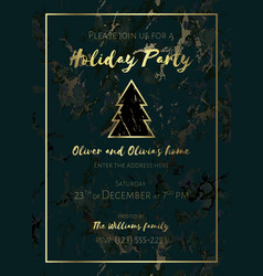 Invitation to a holiday party marble background vector