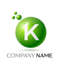 K letter splash green dots and bubbles number vector