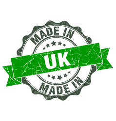 made in uk round seal vector image vector image