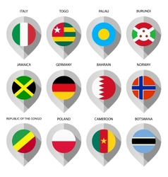 Marker from paper with flag for map - set seventh vector image