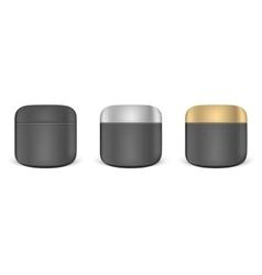 Set of black cream jar mockups vector